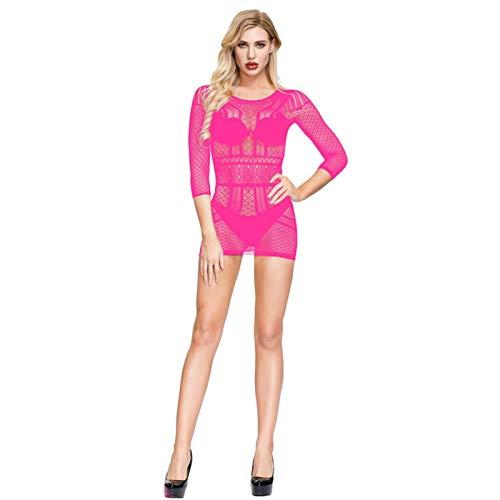 Shanol Damas Sexy lencera Hueco Malla Vestido Transparente Seductor Sexy Pijamas (Color : G)
