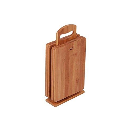 MK Bamboo Dijon Planche à découper avec support en bambou Idée cadeau 6 pièces
