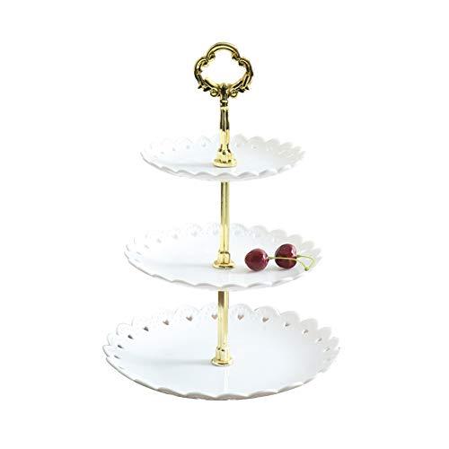 HiCollie ケーキスタンド プラスチック 3段 お菓子皿 アフタヌーンティースタンド カップケーキスタンド デザート スタンド 結婚式ホーム パーティー 誕生日 西洋風 (ホワイト)