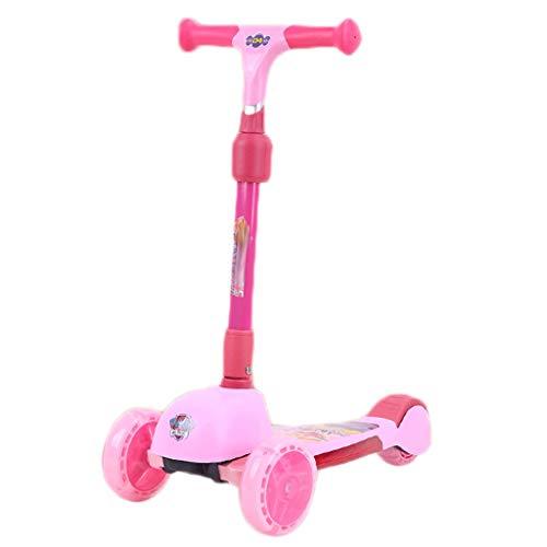 Scooters para Niños Scooter de los niños con altura ajustable, scooter de niños pequeños con ruedas de flash amplias, scooter para niños de 3 a 8 años, magro para dirigir Antideslizante Scooter Patine