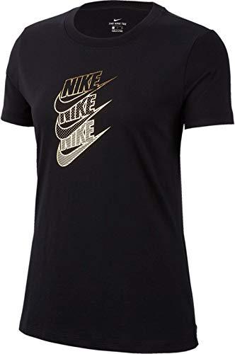 Nike Damen Nswstmt Shine T-Shirt, Schwarz (Black/Metallic Gold), (Herstellergröße: Medium)