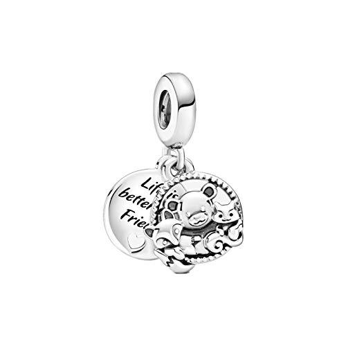 LISHOU DIY 925 Oso De Plata Esterlina, Fox Squirrel Dangle Fit Original Pandora Pulseras Collar para Mujeres Cuentas De Dijes Fabricación De Joyas