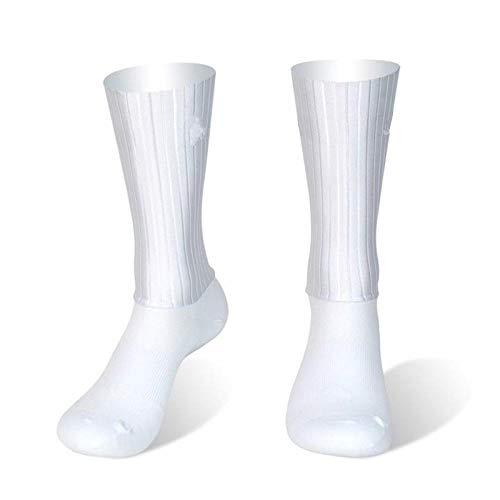 BLOMDE Calcetines De Compresión Calcetines Deportivos Antideslizantes De Silicona Para Verano Aero White Line-Blanco_L 40-45