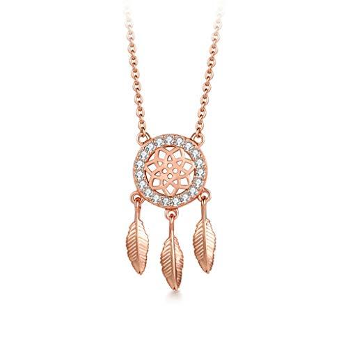 xinxinchaoshi Joyas de Moda Dreamcatcher Collar Femenino de Plata esterlina clavícula Cadena de Oro Rosa Sencillo Collar de Regalo de la joyería Collar para Mujer