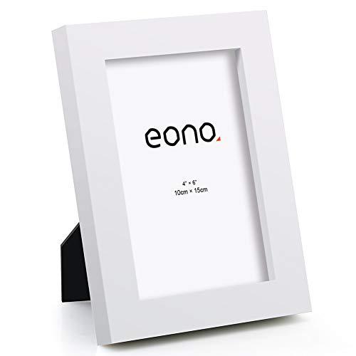 Eono by Amazon - 10x15 cm Bilderrahmen Hergestellt aus Massivholz und Hochauflösendem Glas Geeignet zum Aufstellen oder Wandhängend Fotorahmen Weiß