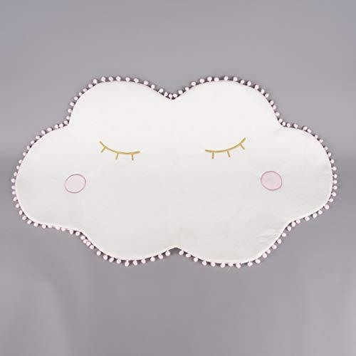 SCHÖNER LEBEN. Alfombra infantil con pompones, color blanco y rosa, 100 x 62 cm