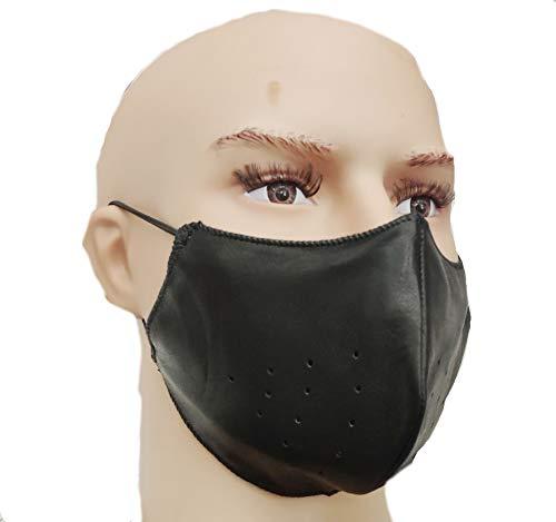 Biker Mundschutz atmungsaktive Motorrad Maske aus Leder staubdicht Kälteschutz