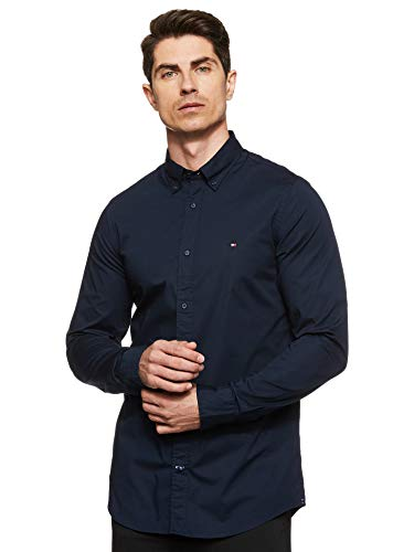 Tommy Hilfiger Herren CORE STRETCH SLIM POPLIN SHIRT Freizeithemd, Blau (Sky Captain 403), X-Large