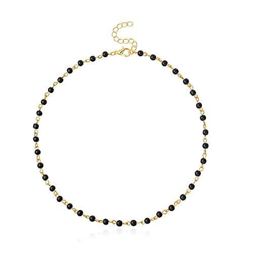 NVTHINH Black Beads Women Neck Chain Kpop Pearl Choker Necklace Gold Color Goth Chocker Jewelry On The Neck Pendant 2021 Collar For Girl (Metal Color: gold)