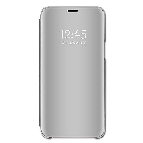 Jkmk Samsung Galaxy S6 Hülle, Spiegel Handyhülle Flip Schutzhülle Mirror Make-Up Box, Hülle Sumsung Galaxy S6 mit Klapphüllen handyhülle, Clear View Standing Cover für Galaxy S6. (Silber)