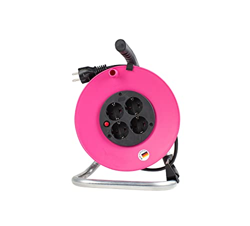 as - Schwabe Tambor de cable m, fabricado en Alemania, IP 20, rollo de cable interior rosa, 230 V/16 A, tambor con 4 enchufes de protección de contacto, color rosa I 15100
