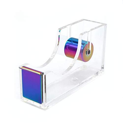 Rainbow Adhesive Tape Dispenser Clear Acrylic Body Desktop Tape Holder 1