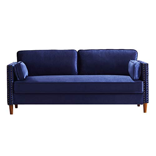 Velvet Futon Couch Sofa with 2 Pillows, Mid-Century Modern Couch with Solid Wooden Legs, Twin Size Loveseat Sofas for Living Room and Bedroom (Dark Blue)