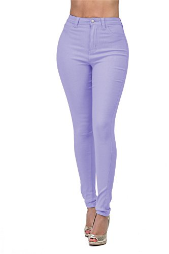 High Rise-Waisted Ladies Stretch Skinny Curvy Women Colored Denim Ripped Jeans Pants for Women (S, Lilac)
