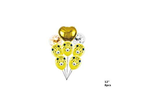 Takestop® ballonnen set 8 stuks luipaard geel 1 hart 7 rond bont CC_41588 latex meerkleurige dieren voor decoratie feesten party thema verjaardag