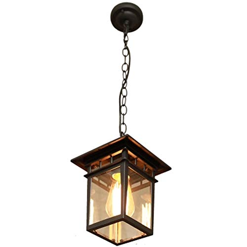 ZYY * hanglamp Europese kroonluchter eenvoudige waterdichte roest kaneel buiten hanglamp buitenlamp hal E27 hanglamp (zwart)