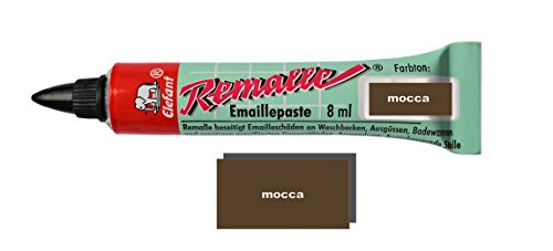 Helmecke & Hoffmann Remalle Emaille Paste Emaillelack Reparaturlack Lack in vielen Farben je 8 ml + Pinsel Fuer Jede Tube (Mocca)