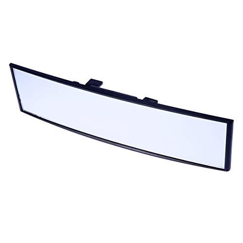vosarea Espejo retrovisor universal para coche gran angular Panoramico antiabbagliante para interior Espejo Retrovisor grande Vision Espejo curvado 300x 75mm (blanco)