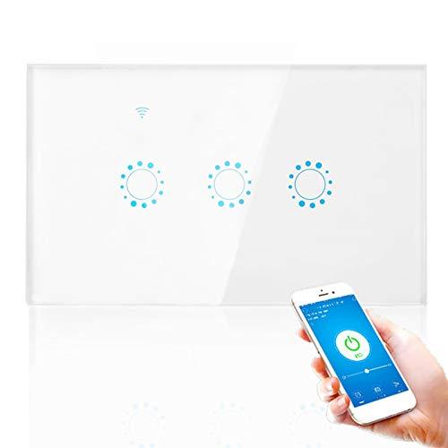 Dioche - Interruttore touch intelligente wireless, WiFi 1/2/3 bande, interruttore remoto da parete per luci, con app vocale, con supporto per funzione di sincronizzazione Alexa Echo, G-Home