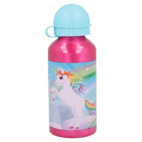 Borraccia Bottiglia in Alluminio per Bambini 400ml con beccuccio retraibile (Unicorno)