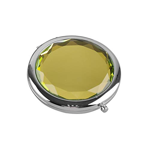 HUIHH Metal Pocket Makeup Mirror Fold Round Crystal Engraved Cosmetic Compact Mirror Portable 70 x 15 mm F