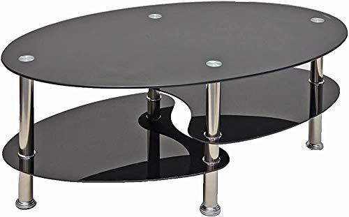 Mesa de centro de vidrio elíptica de vidrio de seguridad de un solo ritmo, mesa de café de vidrio de cristal de seguridad,Black