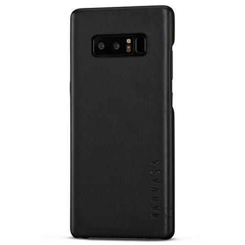 Galaxy Note 8 Lederhülle Schwarz - KANVASA Skin Leder Hülle Ledertasche Echtleder Cover für Original Samsung Galaxy Note 8 - Rindsleder Schutzhülle Hülle Ultra dünn - Optimaler Schutz und edles Design