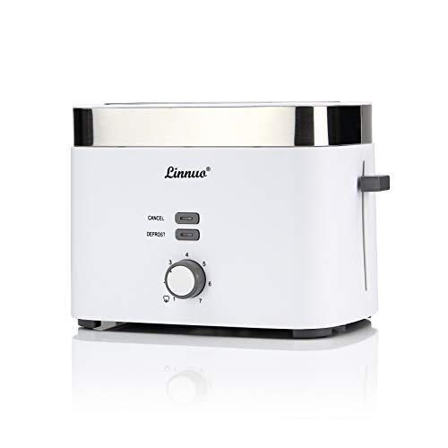 Linnuo Toaster mit Brötchenaufsatz - 2 Schlitzen 7 Bräunungsstufen 900W starke Leistung - Toaster Edelstahl Kunststoff - Schutz vor Verbrennung - Automatik Toaster Weiß Retro Design - Auftau Funktion