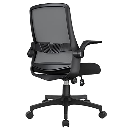 Komene Ergonomisch Bürostuhl Schreibtischstuhl mit Hochklappbaren Armlehnen, Computerstuhl mit Atmungsaktiver Netz Rückenlehne 360°Drehstuhl mit Höhenverstellbar (Schwarz)
