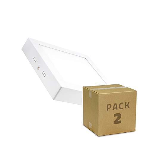 LEDKIA LIGHTING Pack de 2 Plafonniers LED Carrés 18W (2 Un) Blanc Neutre 4000K - 4500K