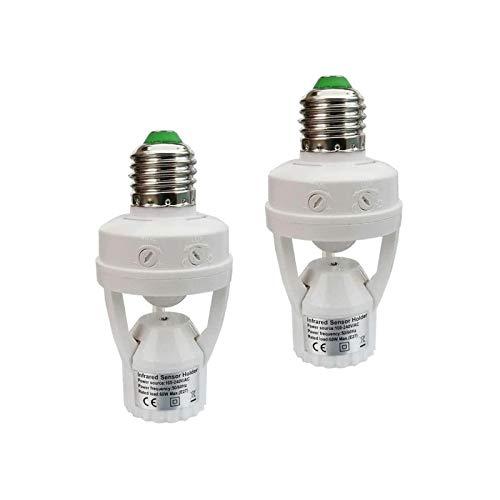 Motion Activated Light Socket,E26 Motion Security Light Bulb Socket Indoor for Front Door Porch Garage Basement Hallway Closet (2 Pack)