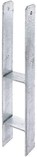 GAH-ALBERTS 208424 H-Pfostenträger feuerverzinkt | lichte Breite 71-161 mm | Gesamthöhe 600-800 mm | Materialstärke 4-8 mm, 121 x 800/6