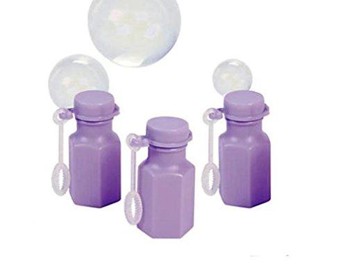 100 Mini Hexagon Lilac Bubble Bottles With Bubble Solution - Wedding Favors - Party Favors