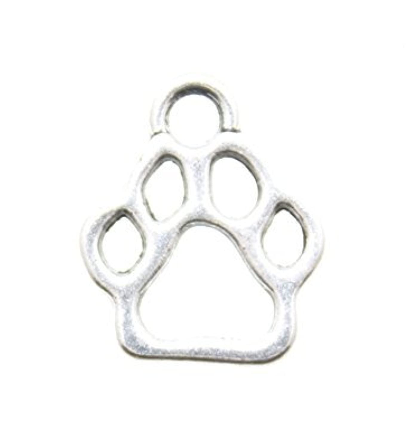 AnnaKJewels 40 Pieces Dog Paw Charms, Silver Tone, Size 24mmx17mm