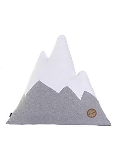 Idealer Pulverschnee Kissen Bergform Berg Dekokissen Zierkissen Fleecekissen grau weiß Fleece Geschenkidee (L)