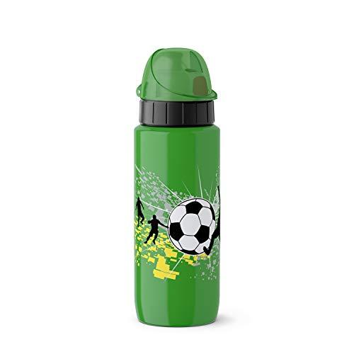 Emsa Light Steel 518366 Edelstahl Trinkflasche, 0,6 Liter, AutoClose Verschluss, Football