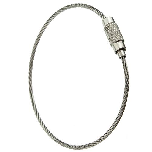 Pawfly 25 Pack Wire Keychain Cable 6 Inch Stainless Steel Key Ring Loop for Outdoor Hiking