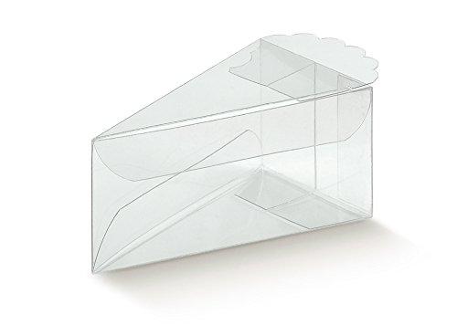 50PVC Caja Pvc Transparente portaconfetti a forma de porción tarta 9x 5x 4cm
