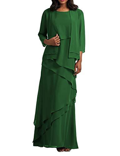 HUINI Abendkleider Lang Brautmutterkleied Etuikleider Chiffon Lang Ärmel Partykleider Festkleider Ballkleider Grün 32