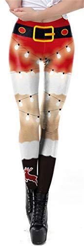 KIDVOVOU Girls Women Christmas Tights Pants 3D Christmas Lights Printed High Waist Leggings,Small
