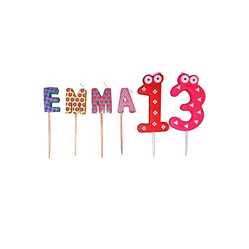 Velas cumpleaños con nombre personalizado multicolor