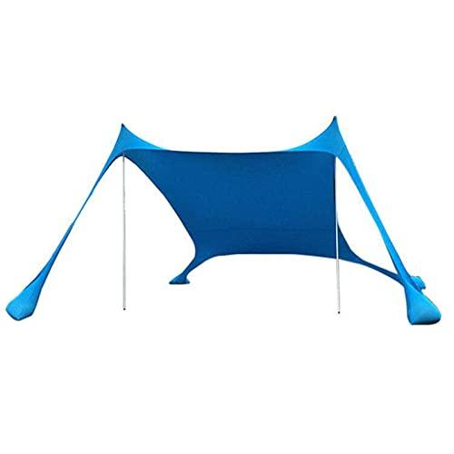 DFLKP Toldo de Playa emergente de 10 x 10 pies y 4 Postes para Playa, Camping, Pesca, Patio Trasero y picnics,4 People Blue