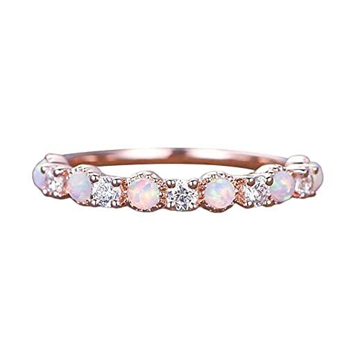 XCSM Diamante de imitación de ópalo Rosa Anillo de Oro Rosa Zirconia cúbica Piedras Preciosas Anillos de Dedo de Diamantes Anillo de declaración de Compromiso de Boda Aniversario Cumpleaños Joyería