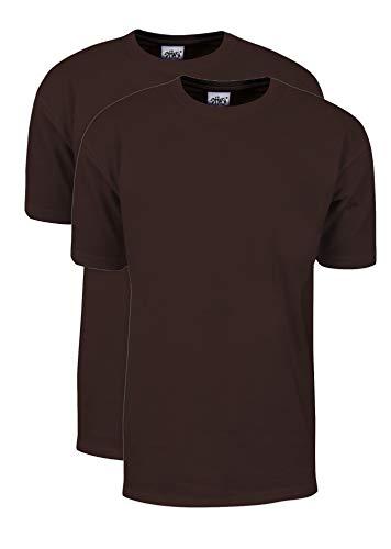 Shaka Wear pacote com 2 unidades, peso máximo pesado, 198 g Camiseta de manga curta de algodão, Marrom, 5X