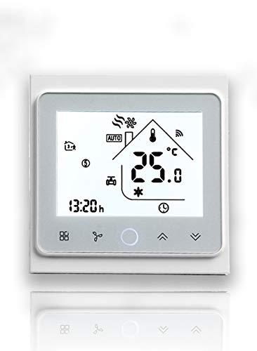 Beca Serie 002 Touch Screen Termostato ambiente Due tubi per climatizzatore Ventilconvettore con connessione WiFi per supporto Intelligent Voice (Due tubi, Completamente Bianco(WIFI))