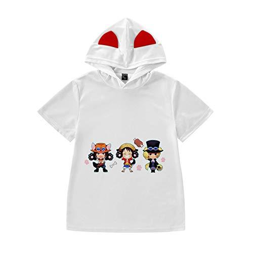 One Piece Kinder T-Shirts Japanische Anime 3D Tee Tops Sommer Unisex Cosplay Hemd Lose Rundhals Kurzarm Hoodie für Jungen Mädchen Luffy Chopper Zoro Nami Sanji Whitebeard-M,100