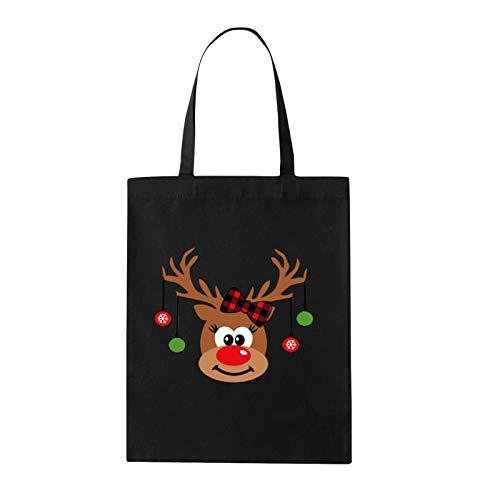 HINK Bolso de Hombro de algodón con Estampado de Estilo navideño para Adultos, Bolso Reutilizable, Bolso de...