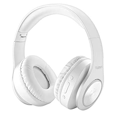 Bluetooth Headphones Wireless,Tuinyo Over Ear Stereo Wireless Headset 35H Playtime with deep bass, Soft Memory-Protein Earmuffs, Built-in Mic Wired Mode PC/Cell Phones/TV-White from Tuinyo
