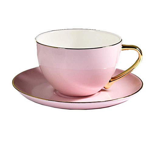 TEAYASON Tazas de Té de Café de Porcelana Taza de Té de Porcelana China Taza de Café Taza de Café Y Platillo Juego de 3 (3 Tazas Y 3 Platos) para Restaurante en Casa (Color: Rosa, Tamaño: Talla Única