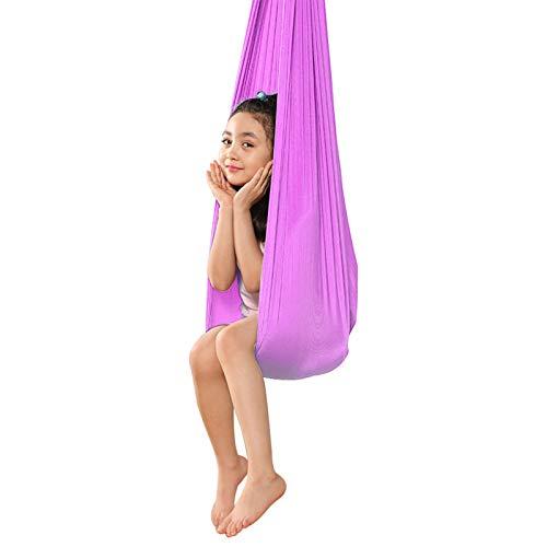LSRRYD Columpio de Terapia Interior para Niños y Adolescentes, Hamaca Suave con Necesidades Especiales para Niños, Yoga, Integración Sensorial (Color : Light Purple, Size : 150 * 280cm)